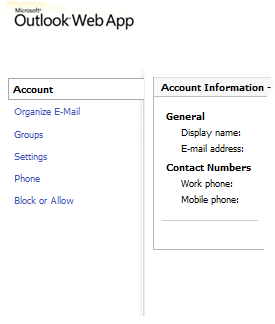Microsoft Outlook Web apps - Administrator login - new features (3/4)