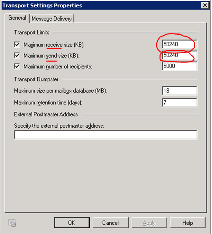 exchange 2010 attachment size global setting for send receive